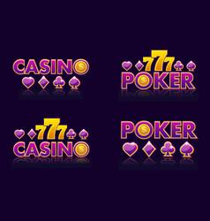 purple logo ideas text casino and poker vector image