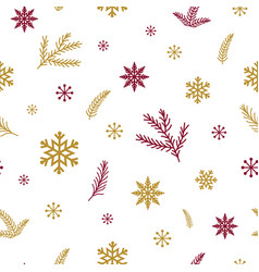 red gold snowflakes branch on white background vector image