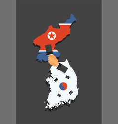 representatives south and north korea shake vector image