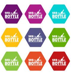 Sea bottle icons set 9 vector