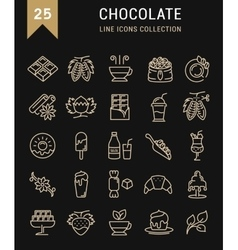Set flat line icons chocolate vector