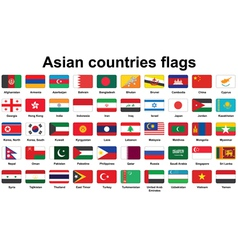 set of Asian countries flags icons vector image