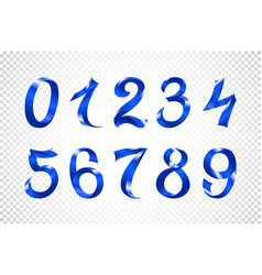set of festive blue ribbon digits iridescent vector image