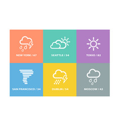 set of weather forecast icons and signs vector image