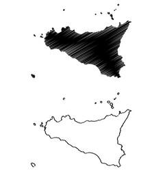 sicily island map vector image