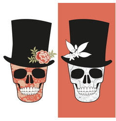 Skulls decorated with floral pattern wearing top vector
