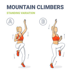 Standing mountain climbers girl home workout vector