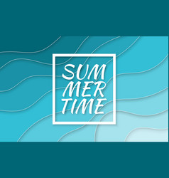 summer time paper cut style blue sea summer vector image