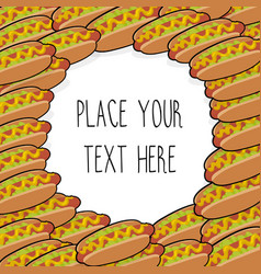 Template with many hot dogs vector