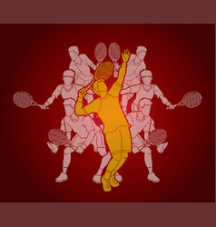 Tennis players men action vector