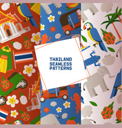 thailand set seamless patterns traditions vector image