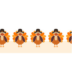 thanksgiving turkey wearing a face mask seamless vector image