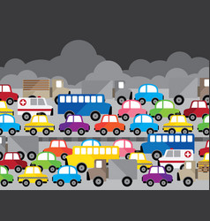 Traffic jam in city air pollution on t vector