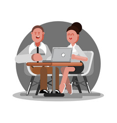 two office workers eating vector image