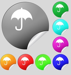 Umbrella icon sign Set of eight multi-colored vector