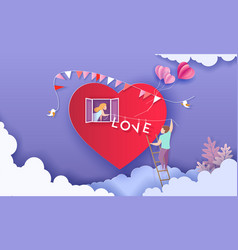 valentines day card with couple holding word love vector image