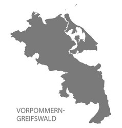 vorpommern-greifswald grey county map of vector image