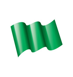 waving green flag on a white background vector image
