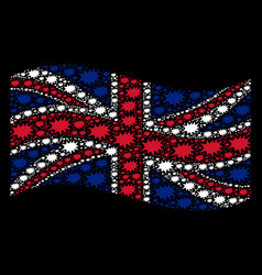 Waving united kingdom flag collage of boom bang vector