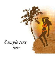 woman in a bathing suit on the beach vector image