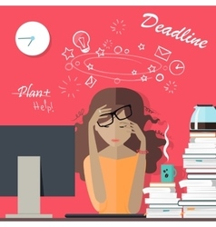 Woman Tired at Work Deadline A Lot of Work to Do vector image