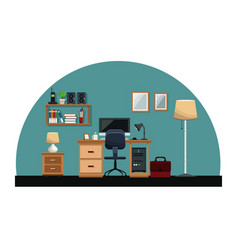 Workplace desk chair computer mirror cabinet book vector