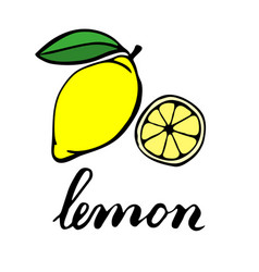 Yellow ripe lemon with one green leaf half a vector