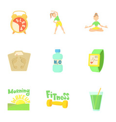 yoga icons set cartoon style vector image
