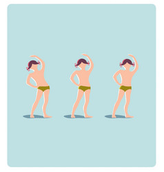 young girl doing morning exercise vector image