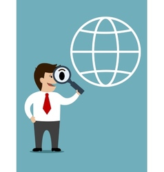 Businessman conducting a global search vector image