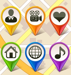 colorful map markers-set 2 vector image vector image