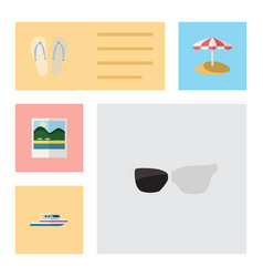 Flat beach set of parasol boat reminders and vector