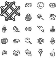 Simple line confectionery icons vector image vector image