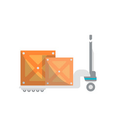 warehouse cart with wooden boxes icon vector image vector image