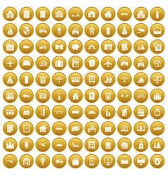 100 property icons set gold vector