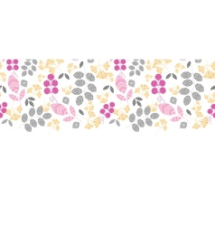 Abstract pink yellow and gray leaves horizontal vector image vector image