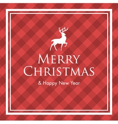 christmas card with deer and gingham pattern vector image vector image