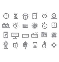 Clocks gray icons set vector image