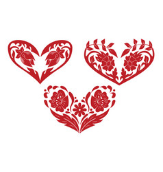 collection stylized ornate hand drawn heart vector image