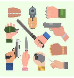hand firing with gun vector image vector image