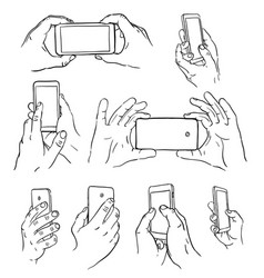 hands with mobile vector image vector image