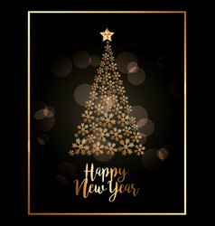 happy new year golden snowflake tree star poster vector image