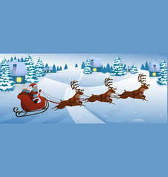 santa claus on deer riding on sleigh with vector image vector image
