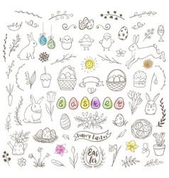 set of easter doodles vector image