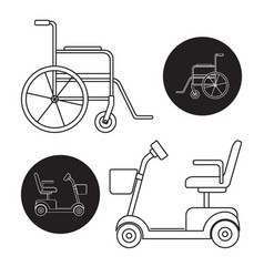 set of mobility scooter and wheelchair icons vector image