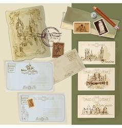 Vintage Postcards Set vector image vector image