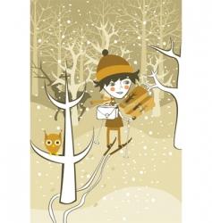 winter boy vector image vector image