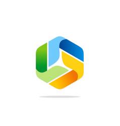 circle colorful ribbon modern technology logo vector image vector image