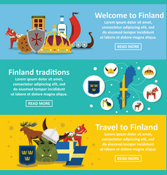 finland travel banner horizontal set flat style vector image vector image