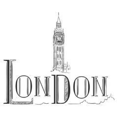 Hand drawn with Big Ben London vector image